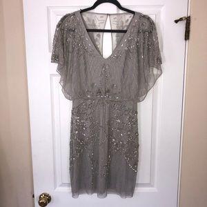 Grey Aidan Mattox beaded flutter sleeve dress